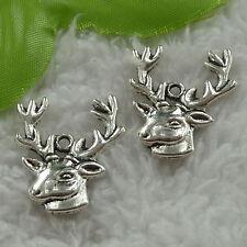 free ship 90 pcs tibet silver deer head charms 25x22mm #3295