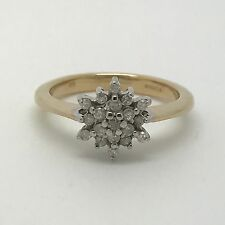 0.25ct Diamond Snowflake Cluster Ring - 9ct Yellow Gold - Size L - 3.25g