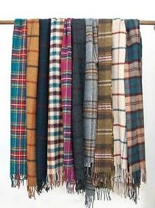 Bronte Country Check Warm Lambswool Scarf - Made in UK - 33 colours - 25 x 190cm