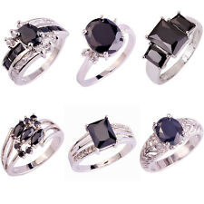 Fashion Unisex Topaz Jewelry Black Spinel Gemstone Silver Ring Gift Size 6-12