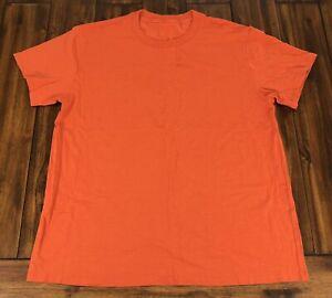 Lululemon Mens Size Medium Athletic 5 Year Basic Tee T-Shirt Burnt Orange *Stain