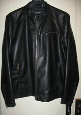 NWT MEN'S BLACK WILSON'S LEATHER MOTORCYCLE JACKET COAT; RIVET BK5AU413 Size XXL