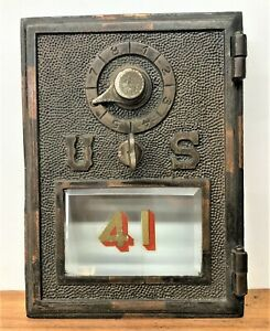 Antique Brass United States Post Office Door with Lock & Beveled Window, US Logo