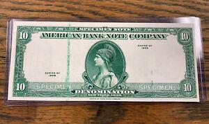 SPECIMEN TEST NOTE 1929 $10 DENOM AMERICAN BANK NOTE Co GEM RARE