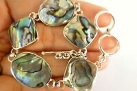 Multi-Shaped Paua Abalone Mother of Pearl 925 Sterling Silver Bracelet