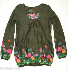 Desigual Womens Tunic Size-S Cotton Embroidered Flowers Long Sleeve Top