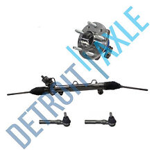 Power Steering Rack and Pinion + 2 Outer Tie Rod + Wheel Hub Bearing Assembly