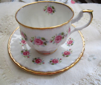Queen's Rosina China Pink Roses Tea Cup & Saucer set Bone China England