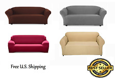 FURNITURE SOLID STRETCH SLIP COVER FOR SOFA, LOVE SEAT 3 DIFFERENT COLORS!