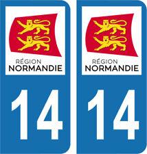 Département 14 - 2 autocollants style immatriculation AUTO PLAQUE NORMANDIE 2018