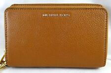 Michael Michael Kors Adele Large Flat Pebbled Luggage Leather Case Wristlet