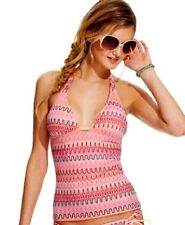 Hobie Printed Crochet Halter Tankini Swimsuit Top Multi Color Size Small