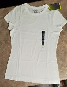NWT Tek Gear White Short Sleeve Solid Crewneck Tee Activewear Wicking Women's XS