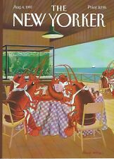 Cover Only New Yorker magazine August 4 1997 Bruce McCall Lobsters eating out