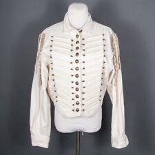 Double D Ranch Wear Button Short Military Jacket  Beads/Fringe Cotton L