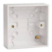 Plastica BIANCA SINGOLO montaggio superficiale Indietro Box 25mm in profondità per Switch/Presa