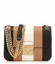 NWT MICHAEL KORS SLOAN MD Multi Stripe Editor Leather Bag BLACK/ECRU/CASHEW $278