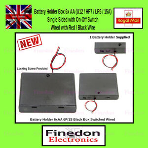 Battery Holder Black Box 6x AA Switch Wired Red Black PCB Box Enclosure Arduino