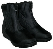 LADIES BLACK SHOWERPROOF FUR LINED WINTER SNOW BOOT WITH FRONT ZIP IN SIZE 3