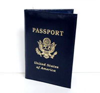 Dark Blue USA Real Leather Passport Cover ID Credit Card Wallet Holder Wallet