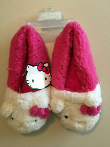Hello Kitty Slippers Adult SIZE MEDIUM 7-8 Pink and White Brand New