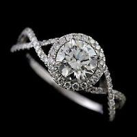 6.5mm Halo Moissanite Split Braided Shank Engagement Ring 14k White Gold GP Gift