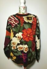 NWT VTG The Peruvian Connection Merino Wool Tunic Floral Sweater Large