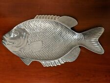 "Large 18"" Mikasa Oceanside Cast Metal Aluminum Fish Platter Serving Tray Silver"