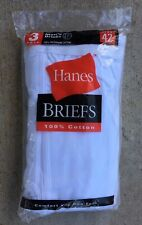 Vintage Hanes Cotton Briefs, 1 Package Of 3, Men's 42 Waist, BNWT, In Package