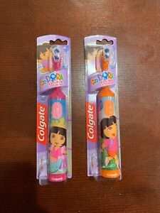 New! 2 Colgate Dora the Explorer Battery Electric Toothbrush - Pink and Orange