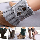 Boot Socks Leg Warmers Crochet Knit Toppers Girls Button Cuffs Knee Leggings