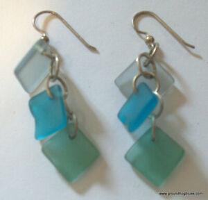 Artist Made  Beach Glass Earrings, Blue Teal Green NWOT