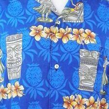 Hawaiian Men Shirt XL Tiki Hula Girl Hibiscus Pineapples Tropical Aloha Friday