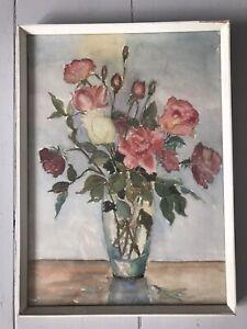 Vintage Floral Watercolour Painting 1940's
