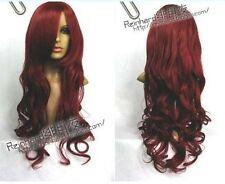 AU132 dark red wavy hair wig health women's cos wigs long curly party women