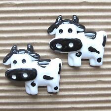 "Hand Painted - 10 pcs x (1 1/8"") Resin Cow/Cattle Flatback Embellishments SB555"