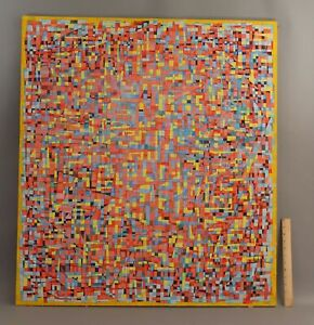 Large Orig FREDERIC M FAILLACE Abstract Op-Art Acrylic Canvas Painting, NR