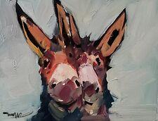 JOSE TRUJILLO Oil Painting IMPRESSIONISM TWO DONKEYS PORTRAIT FARM ANIMALS NR