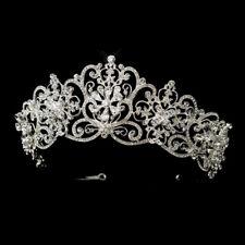 Headpiece #8693 Silver Clear Rhinestone Floral Bridal Royal Tiara
