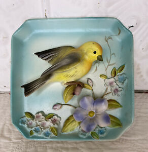 3D Vintage Norcrest Hanging Wall Bird Plate  Pottery Ceramic  Yellow Songbird