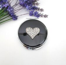 Black Round Mirror Compact ~ Sparkling Crystal Heart Design ~ New