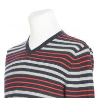 Banana Republic Pure Merino Wool Blue Red Stripe V Neck Sweater Mens Small