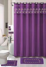 Embroidered Floral 18 Piece Bathroom Set Rugs Shower Curtain Hooks Towel set