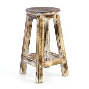 DIVERO Vintage Hocker Massivholz 50cm geflammt 4 beinig Sitzhocker Blumen Tisch