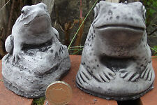2 piece Small Frog & Toad Set, Hand Cast Stone Garden Ornaments, each 7x8x9 cms