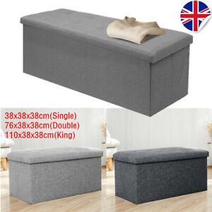 3 Sizes Large Ottoman Folding Toy Storage Box Fine Linen Foot Stool Seat Grey UK