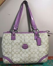 COACH SIGNATURE C TAN LEATHER PURPLE TRIM LARGE ZIP POCKETS TOTE HOBO BAG NR