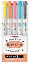 ZEBRA MILDLINER Soft Color Double-Sided Highlighter , 5 Color Set (WKT7-N-5C)