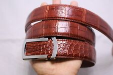 WITHOUT JOINTED-RED BROWN Genuine Alligator, Crocodile Leather Skin Men's Belt#2