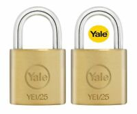 2 PACK YALE SECURITY LUGGAGE PADLOCKS 25mm - KEYED ALIKE - SOLID BRASS - NEW
